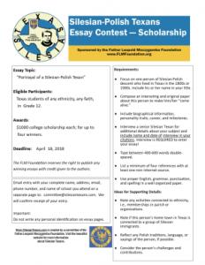 Essay Contest Silesian Texans